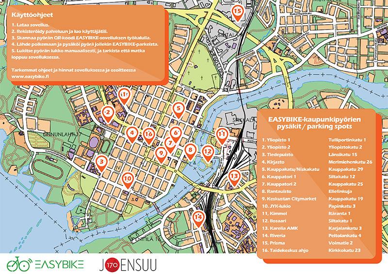Joensuun Easybike-kaupunkipyörien pysäkit kartalla.